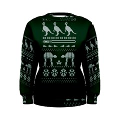 Holiday Party Attire Ugly Christmas Green Background Women s Sweatshirt