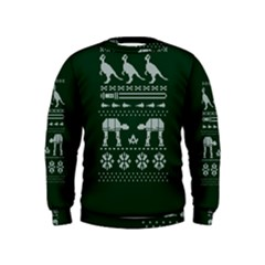 Holiday Party Attire Ugly Christmas Green Background Kids  Sweatshirt