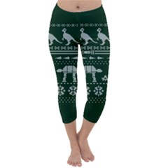 Holiday Party Attire Ugly Christmas Green Background Capri Winter Leggings