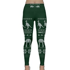 Holiday Party Attire Ugly Christmas Green Background Classic Yoga Leggings