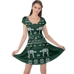 Holiday Party Attire Ugly Christmas Green Background Cap Sleeve Dresses