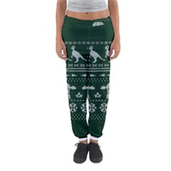 Holiday Party Attire Ugly Christmas Green Background Women s Jogger Sweatpants
