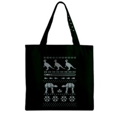 Holiday Party Attire Ugly Christmas Green Background Zipper Grocery Tote Bag