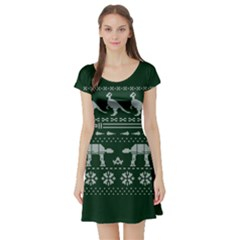 Holiday Party Attire Ugly Christmas Green Background Short Sleeve Skater Dress