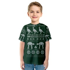 Holiday Party Attire Ugly Christmas Green Background Kids  Sport Mesh Tee