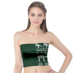 Holiday Party Attire Ugly Christmas Green Background Tube Top