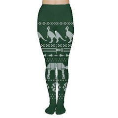 Holiday Party Attire Ugly Christmas Green Background Women s Tights