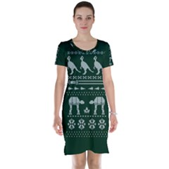 Holiday Party Attire Ugly Christmas Green Background Short Sleeve Nightdress