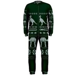 Holiday Party Attire Ugly Christmas Green Background OnePiece Jumpsuit (Men)