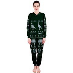 Holiday Party Attire Ugly Christmas Green Background OnePiece Jumpsuit (Ladies)