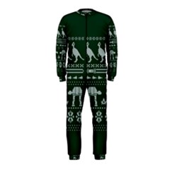 Holiday Party Attire Ugly Christmas Green Background OnePiece Jumpsuit (Kids)