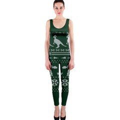 Holiday Party Attire Ugly Christmas Green Background OnePiece Catsuit