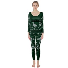 Holiday Party Attire Ugly Christmas Green Background Long Sleeve Catsuit