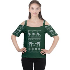 Holiday Party Attire Ugly Christmas Green Background Women s Cutout Shoulder Tee