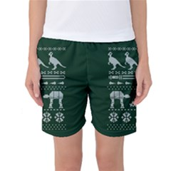 Holiday Party Attire Ugly Christmas Green Background Women s Basketball Shorts
