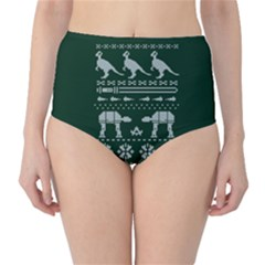 Holiday Party Attire Ugly Christmas Green Background High-Waist Bikini Bottoms