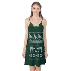 Holiday Party Attire Ugly Christmas Green Background Camis Nightgown