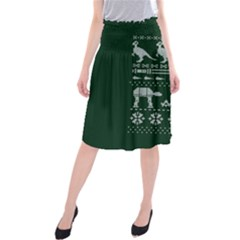 Holiday Party Attire Ugly Christmas Green Background Midi Beach Skirt