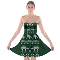 Holiday Party Attire Ugly Christmas Green Background Strapless Bra Top Dress