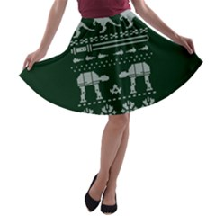 Holiday Party Attire Ugly Christmas Green Background A-line Skater Skirt