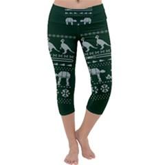 Holiday Party Attire Ugly Christmas Green Background Capri Yoga Leggings
