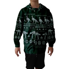 Holiday Party Attire Ugly Christmas Green Background Hooded Wind Breaker (Kids)