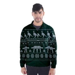 Holiday Party Attire Ugly Christmas Green Background Wind Breaker (Men)