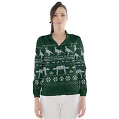 Holiday Party Attire Ugly Christmas Green Background Wind Breaker (Women)