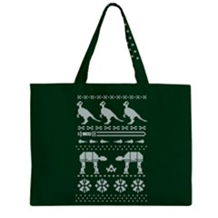 Holiday Party Attire Ugly Christmas Green Background Large Tote Bag