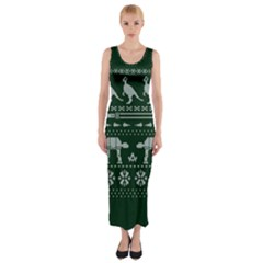 Holiday Party Attire Ugly Christmas Green Background Fitted Maxi Dress