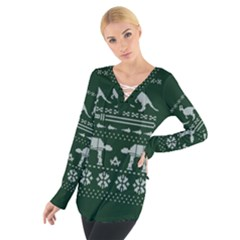 Holiday Party Attire Ugly Christmas Green Background Women s Tie Up Tee