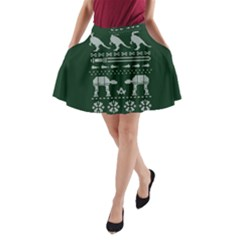 Holiday Party Attire Ugly Christmas Green Background A-Line Pocket Skirt