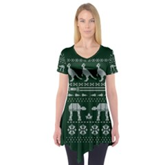 Holiday Party Attire Ugly Christmas Green Background Short Sleeve Tunic