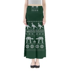 Holiday Party Attire Ugly Christmas Green Background Maxi Skirts