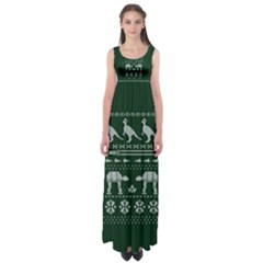 Holiday Party Attire Ugly Christmas Green Background Empire Waist Maxi Dress