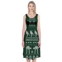 Holiday Party Attire Ugly Christmas Green Background Midi Sleeveless Dress