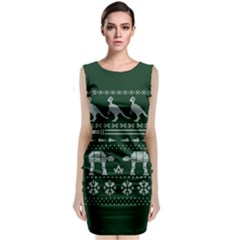 Holiday Party Attire Ugly Christmas Green Background Classic Sleeveless Midi Dress