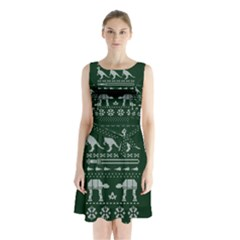 Holiday Party Attire Ugly Christmas Green Background Sleeveless Chiffon Waist Tie Dress