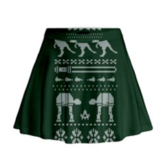 Holiday Party Attire Ugly Christmas Green Background Mini Flare Skirt