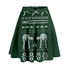 Holiday Party Attire Ugly Christmas Green Background High Waist Skirt