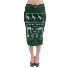 Holiday Party Attire Ugly Christmas Green Background Midi Pencil Skirt