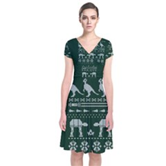 Holiday Party Attire Ugly Christmas Green Background Short Sleeve Front Wrap Dress