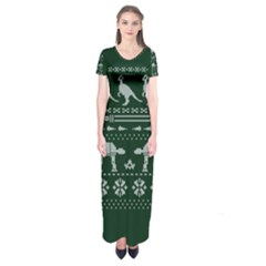 Holiday Party Attire Ugly Christmas Green Background Short Sleeve Maxi Dress