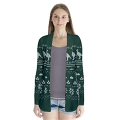 Holiday Party Attire Ugly Christmas Green Background Drape Collar Cardigan