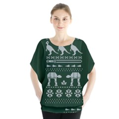Holiday Party Attire Ugly Christmas Green Background Blouse