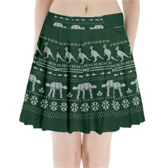 Holiday Party Attire Ugly Christmas Green Background Pleated Mini Skirt