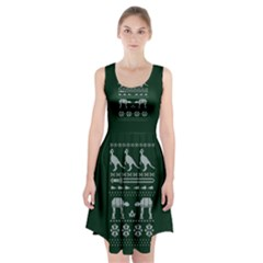 Holiday Party Attire Ugly Christmas Green Background Racerback Midi Dress
