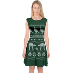 Holiday Party Attire Ugly Christmas Green Background Capsleeve Midi Dress