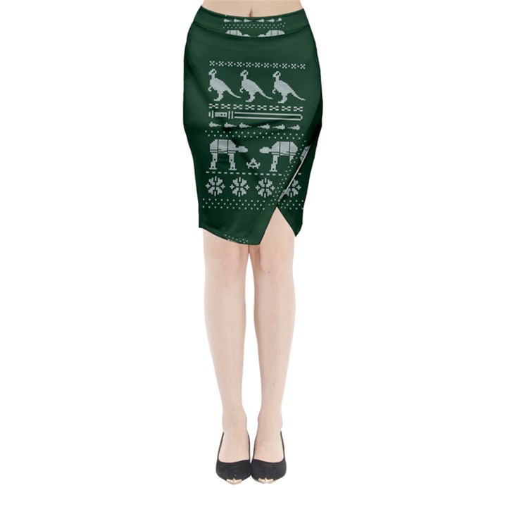 Holiday Party Attire Ugly Christmas Green Background Midi Wrap Pencil Skirt
