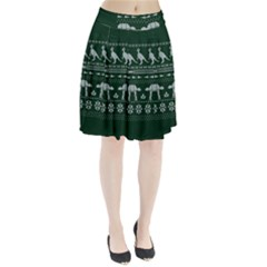 Holiday Party Attire Ugly Christmas Green Background Pleated Skirt